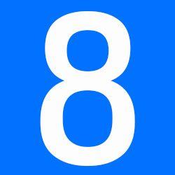 número 8 azul